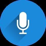 ícono de un micrófono color azul